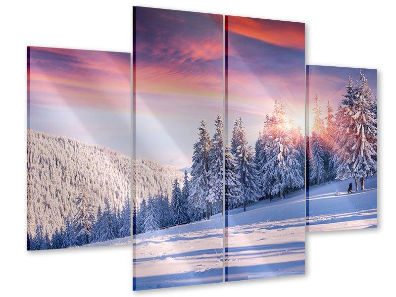 Acrylglasbild 4-teilig Winterlandschaft