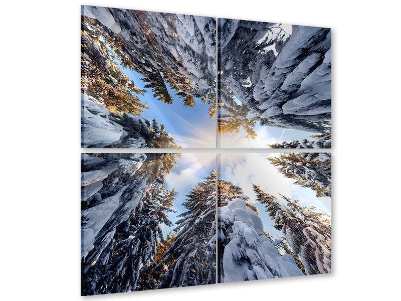 Acrylglasbild 4-teilig Verschneite Tannenspitzen in der Sonne
