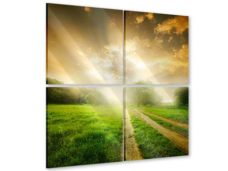 Acrylglasbild 4-teilig Mystischer Sonnenuntergang