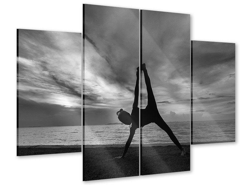 Acrylglasbild 4-teilig Yoga am Strand