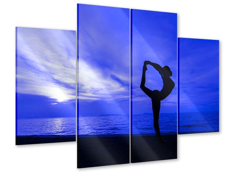 Acrylglasbild 4-teilig Yogaübung am Strand