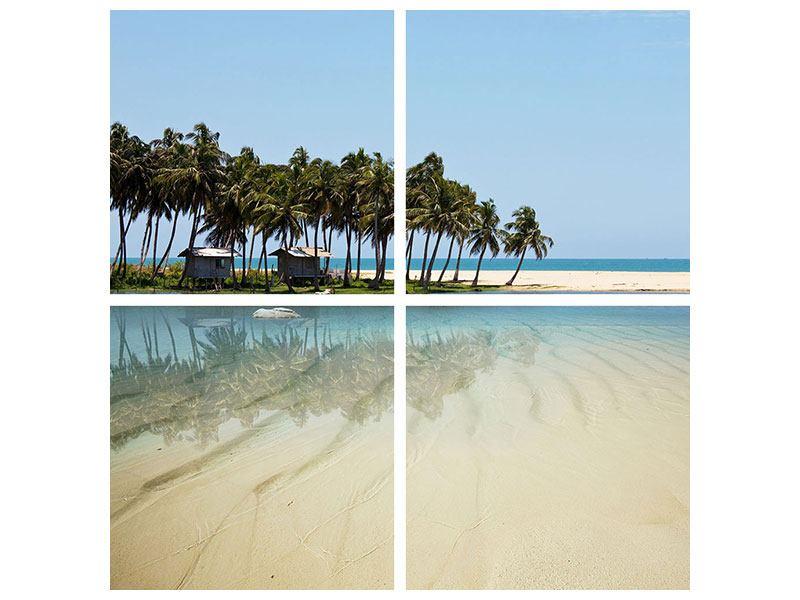 Acrylglasbild 4-teilig Das Meer und die Insel