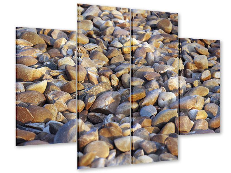 Acrylglasbild 4-teilig Strandsteine