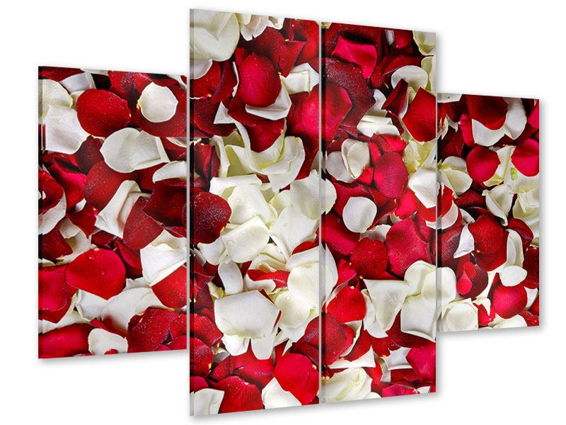 Acrylglasbild 4-teilig Rosenblätter