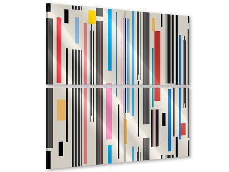 Acrylglasbild 4-teilig Grafische Streifen