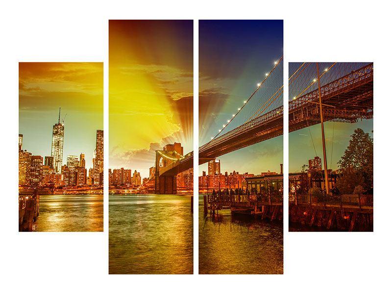 Acrylglasbild 4-teilig Skyline Brooklyn Bridge NY