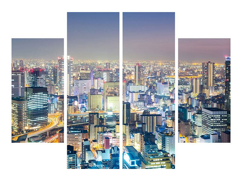 Acrylglasbild 4-teilig Skyline Osaka bei Sonnenuntergang