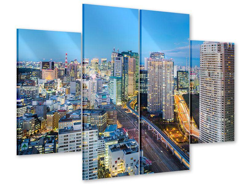Acrylglasbild 4-teilig Skyline Tokio im Lichtermeer