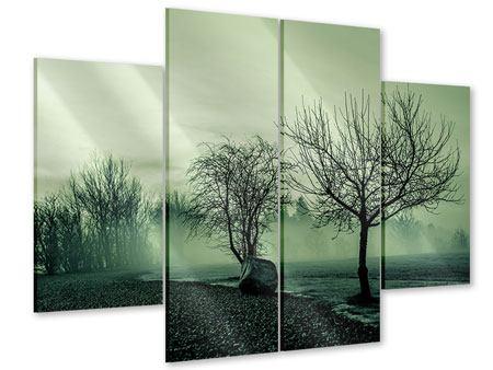 Acrylglasbild 4-teilig Der Auwald im Nebel