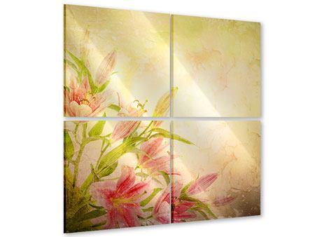 Acrylglasbild 4-teilig Lilien-Gemälde