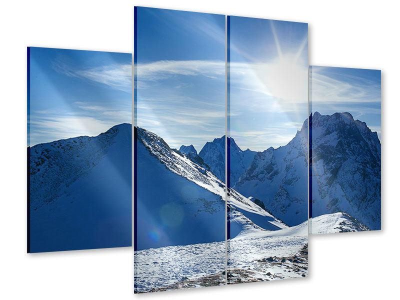 Acrylglasbild 4-teilig Der Berg im Schnee