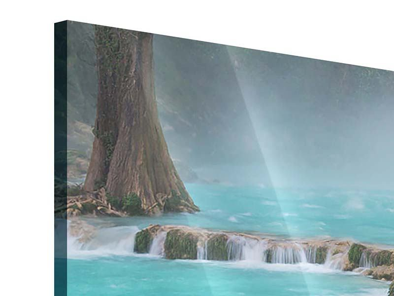 Acrylglasbild 4-teilig Haus am Wasserfall