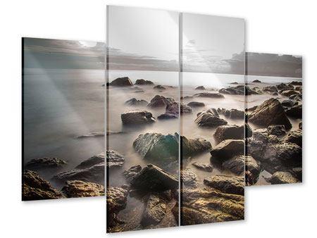 Acrylglasbild 4-teilig Steine am Strand