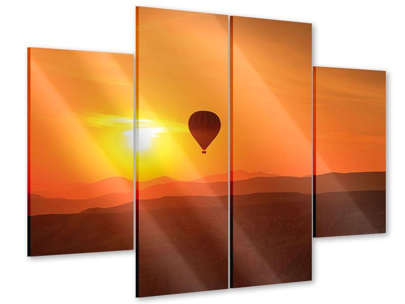 Acrylglasbild 4-teilig Heissluftballon bei Sonnenuntergang