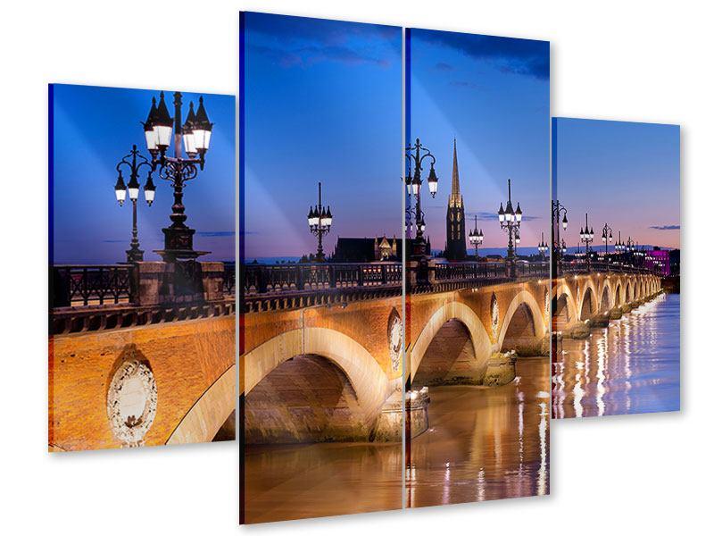 Acrylglasbild 4-teilig Pont De Pierre bei Sonnenuntergang