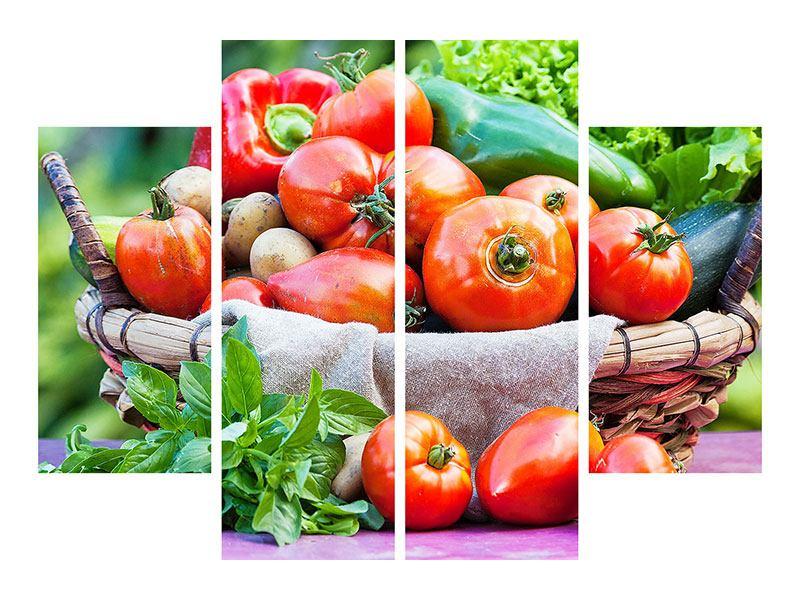 Acrylglasbild 4-teilig Gemüsekorb