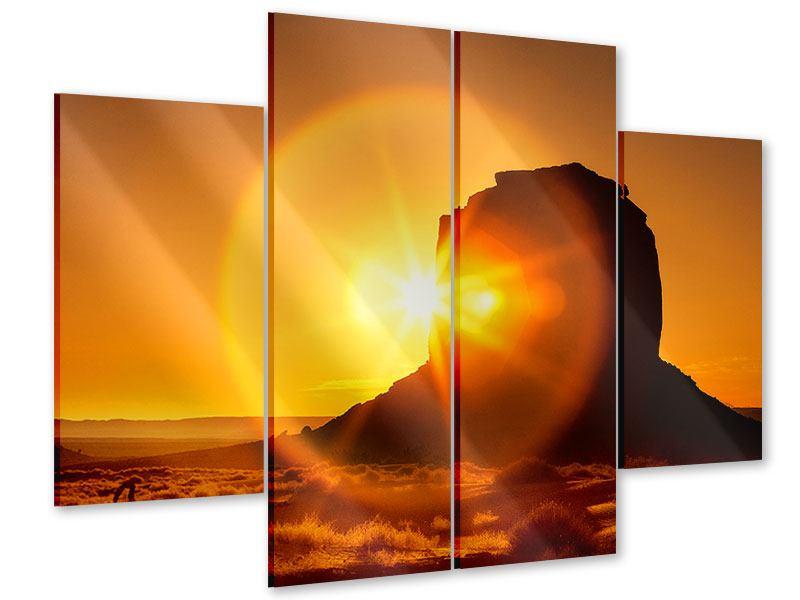 Acrylglasbild 4-teilig Sonnenuntergang Monument Valley
