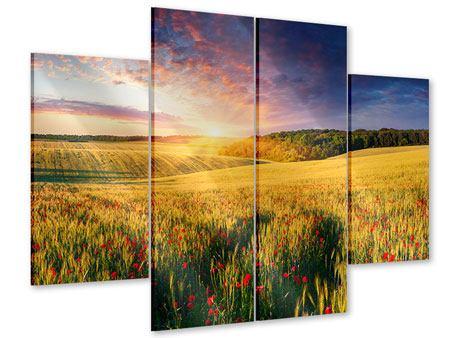 Acrylglasbild 4-teilig Ein Blumenfeld bei Sonnenaufgang