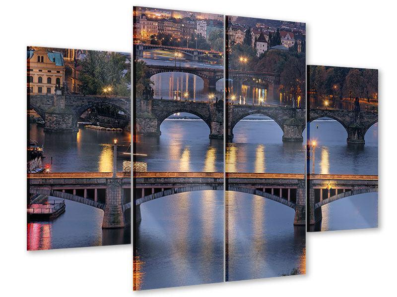 Acrylglasbild 4-teilig Brücken in Prag