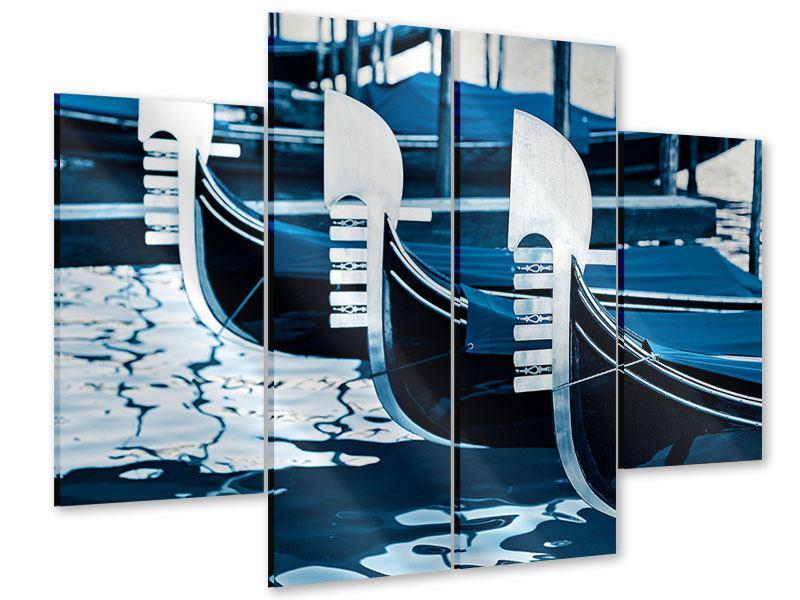 Acrylglasbild 4-teilig Gondeln in Venedig