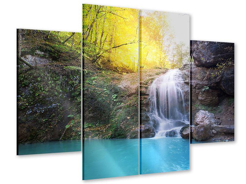 Acrylglasbild 4-teilig Fliessender Wasserfall