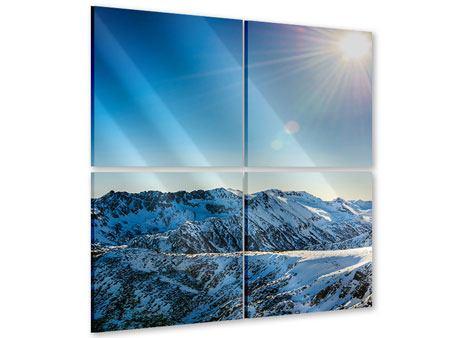 Acrylglasbild 4-teilig Berge im Schnee