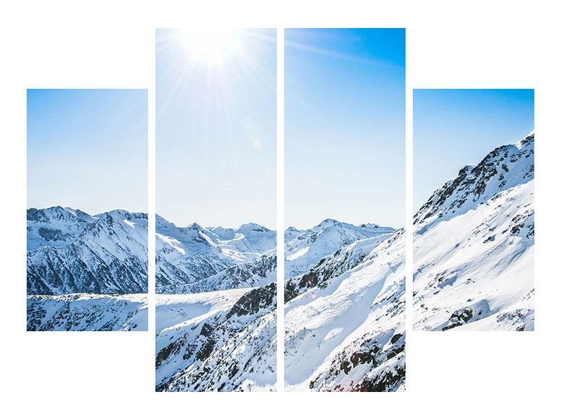 Acrylglasbild 4-teilig Bergpanorama im Schnee