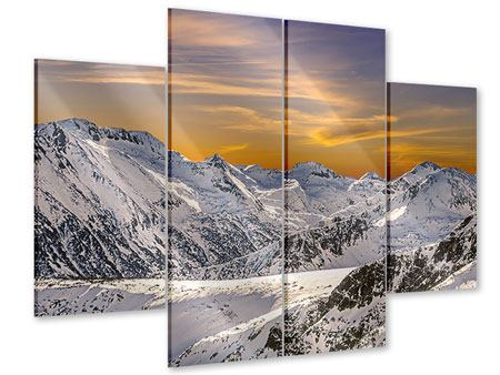 Acrylglasbild 4-teilig Sonnenuntergang in den Bergen
