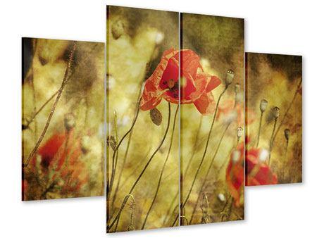 Acrylglasbild 4-teilig Der wilde Mohn