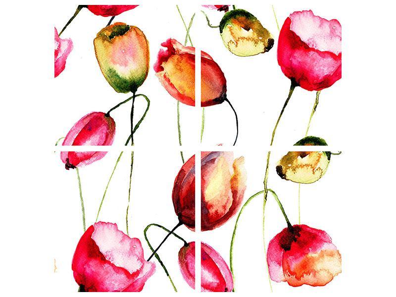 Acrylglasbild 4-teilig Das Tulpengemälde