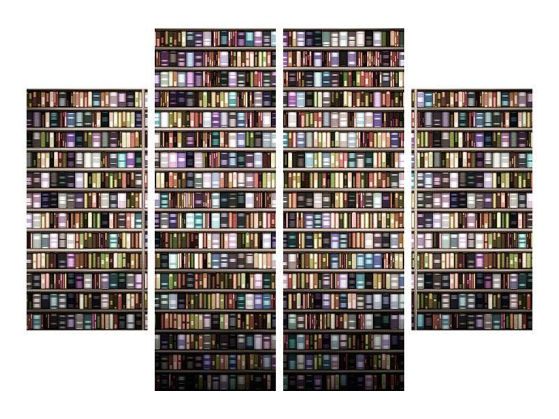 Acrylglasbild 4-teilig Bücherregal