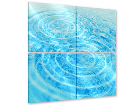 Acrylglasbild 4-teilig Abstraktes Wasserbad