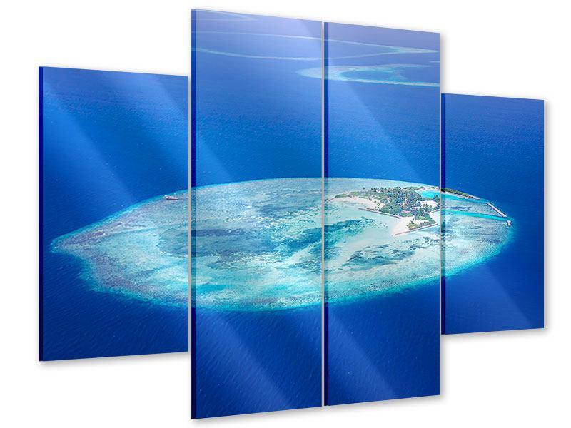Acrylglasbild 4-teilig Reif für die Trauminsel