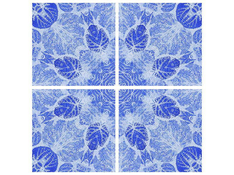 Acrylglasbild 4-teilig Blaues Ornament