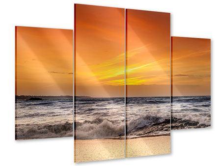 Acrylglasbild 4-teilig See mit Sonnenuntergang