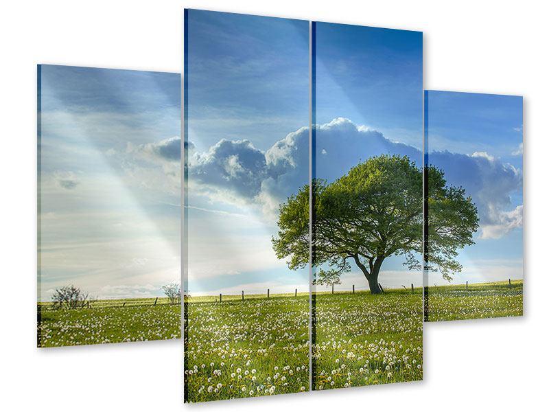 Acrylglasbild 4-teilig Frühlingsbaum