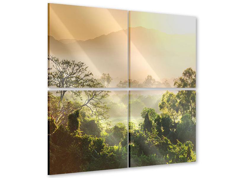 Acrylglasbild 4-teilig Lichtspiel im Wald