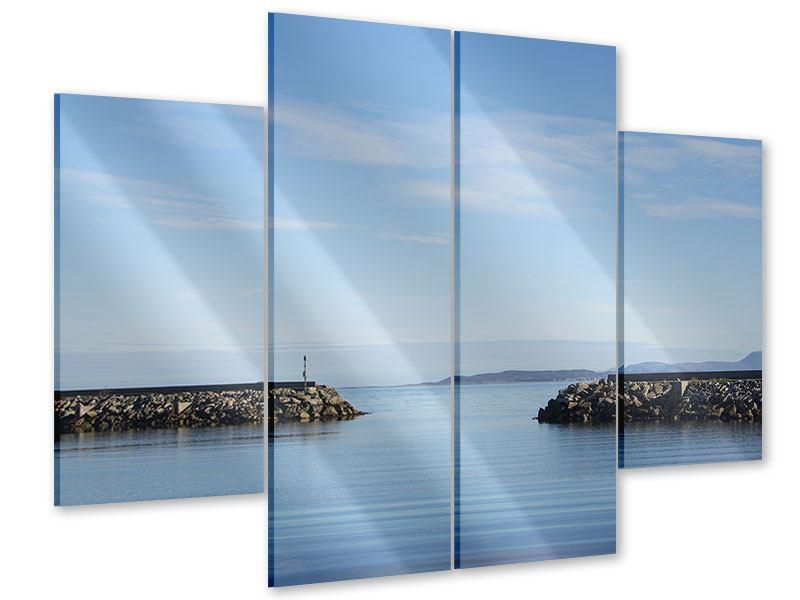 Acrylglasbild 4-teilig Hafenmauern