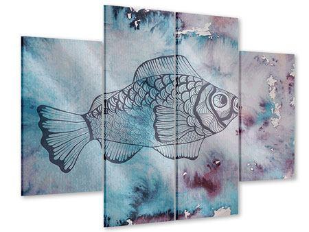Acrylglasbild 4-teilig Fisch-Aquarell