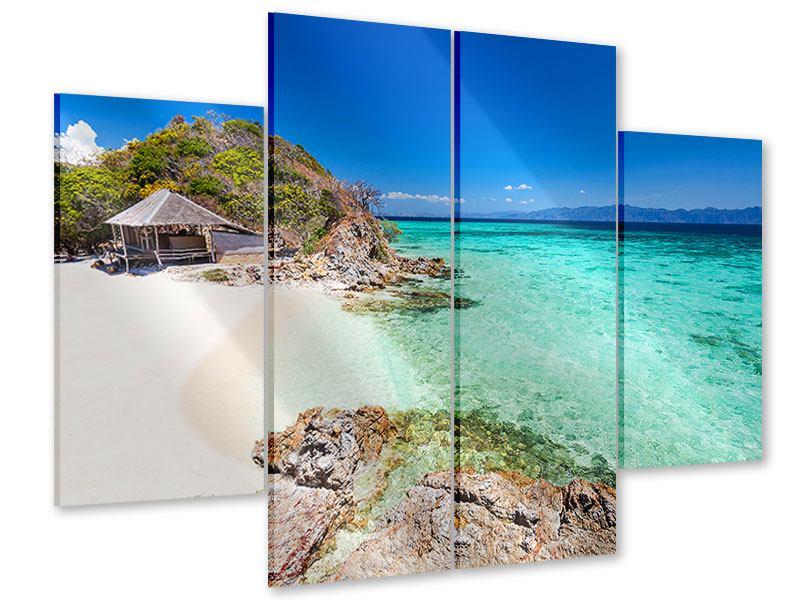 Acrylglasbild 4-teilig Das Haus am Strand