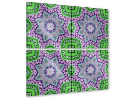 Acrylglasbild 4-teilig Paisley-Style