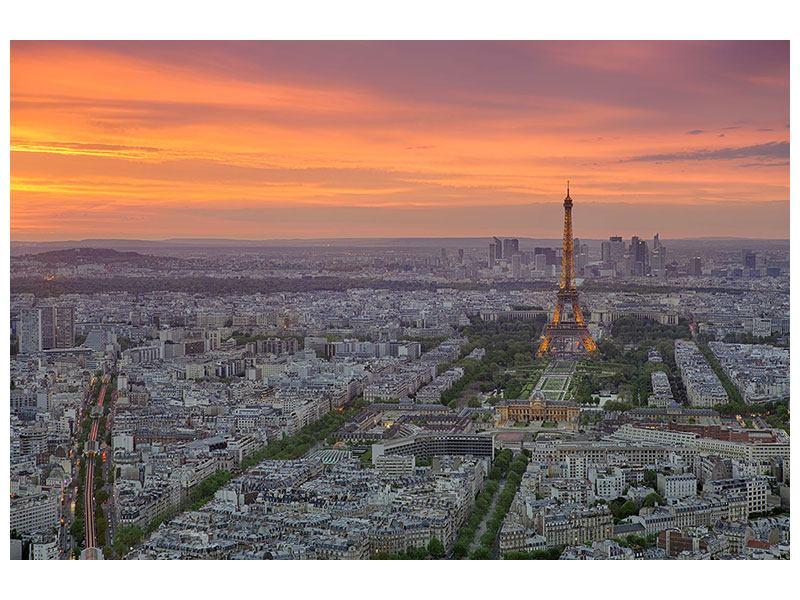 Acrylglasbild Skyline Paris bei Sonnenuntergang