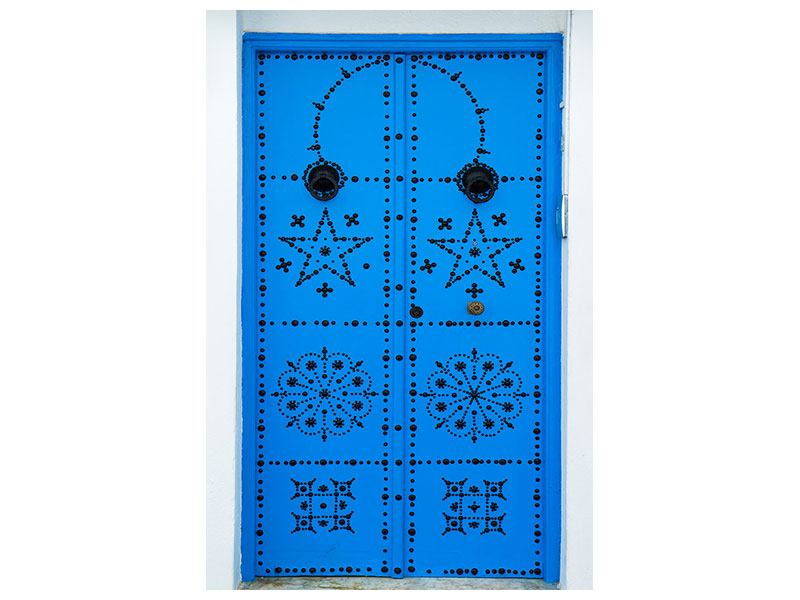 Acrylglasbild Blaue Holztür