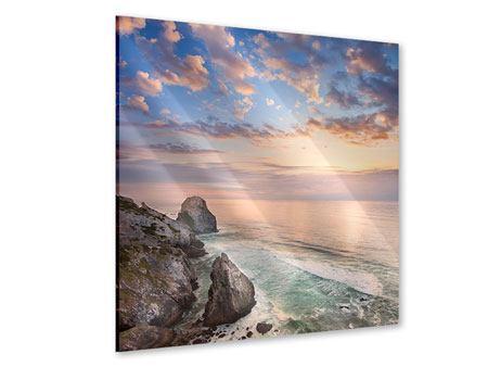 Acrylglasbild Romantischer Sonnenuntergang am Meer