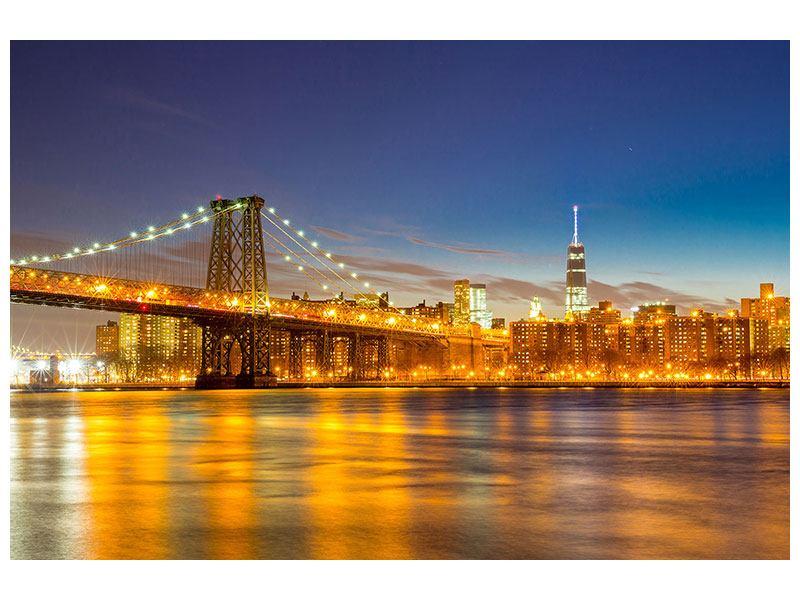 Acrylglasbild Skyline NY Williamsburg Bridge