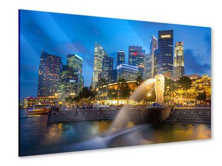 Acrylglasbild Skyline Singapur im Lichtermeer