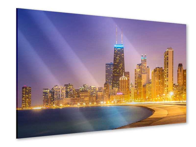 Acrylglasbild Skyline Chicago in der Nacht