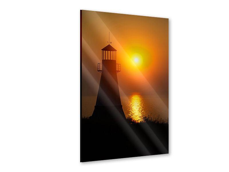 Acrylglasbild Ein Leuchtturm bei Sonnenuntergang