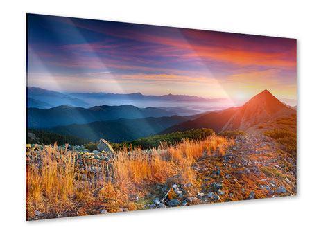 Acrylglasbild Sonnenuntergang in den Alpen