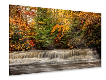 Acrylglasbild Herbst beim Wasserfall
